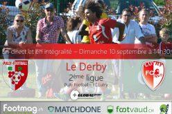 Le derby entre Pully et Lutry sera diffusé en direct