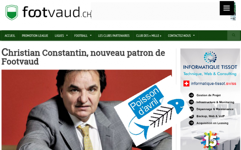 Constantin patron, mais pas de Footvaud