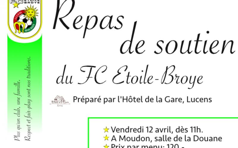 Repas de soutien de l'Etoile-Broye le 12 avril